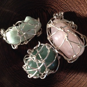 Image of wrapped stones for pendants